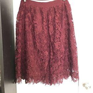 Ann Taylor Factory Lace Skirt Burgundy